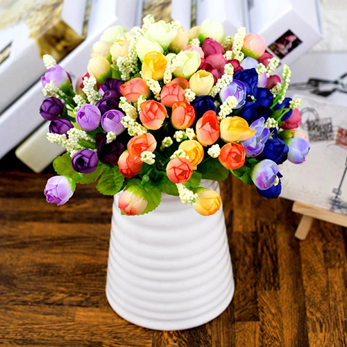 Heepo 15 Heads/1 Bouquet Handmade Wedding Party Home Decoration Artificial Rose Flowers
