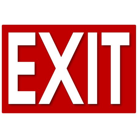 Set of 2 Self Adhesive Exit Signs, 7.25 by 11 Inches Decal - Exit Decal