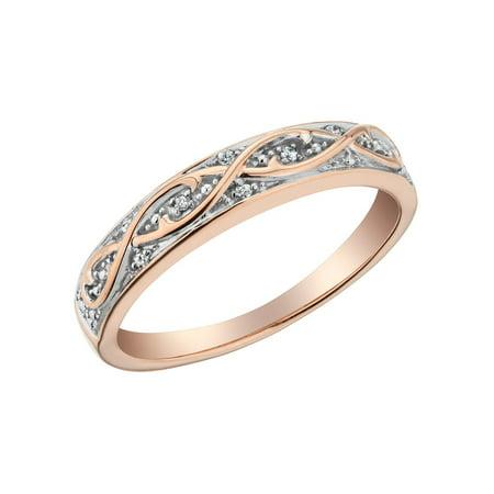 White Gold Pinky Rings (Diamond Ring in 10K Rose Pink Gold)
