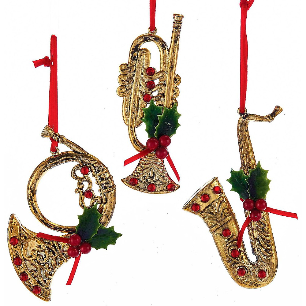 1 set 3 assorted plastic red and gold french horn trumpet