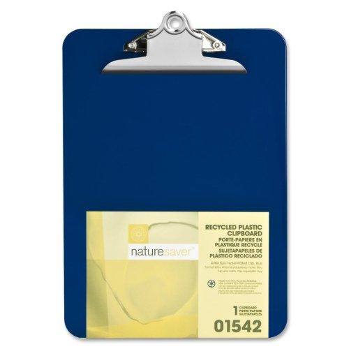 "Nature Saver Recycled Clipboard - 1"" Capacity - 8.50"" X 12"" - Heavy Duty - Plastic - Blue (NAT01542)"