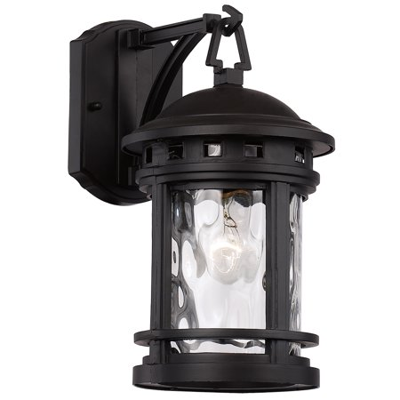 "Bel Air Lighting CB-40370 BK 12.5"" 1 Light Boardwalk Wall Lantern Small With Water Glass Type In Black Finish"
