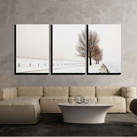 Wall26 3 Piece Canvas Wall Art Row Of Large And Bare Trees It