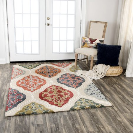 Red Barrel Studio Treska Hand Tufted Wool Red Orange Green Area Rug