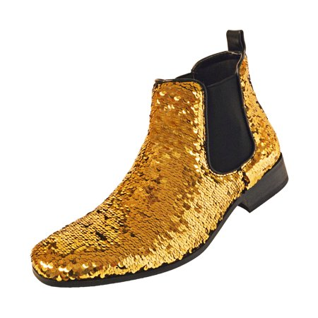 Amali Smoking Slipper Reversible Metallic Sequins Loafer Dress Shoe Available in Black/Gold, Black/Silver](Black And Gold Sequin Shoes)