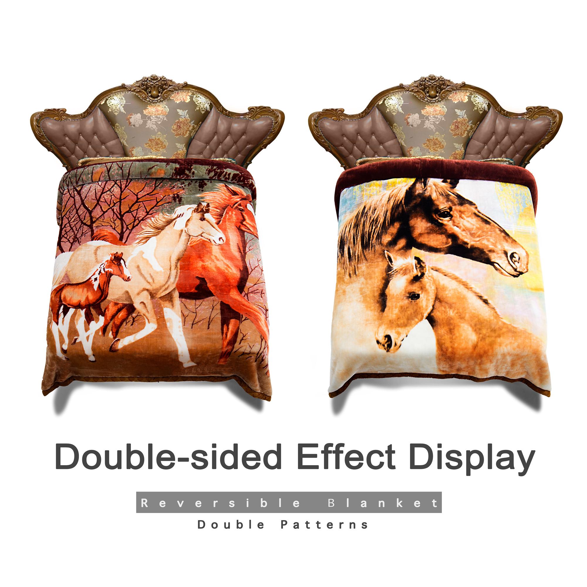 "Fleece Blanket 2 Ply Printed Pattern - Plush Soft Warm Korean Mink Winter Weighted Blanket 10 LB ,King 85"" x 93"""