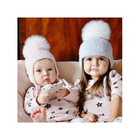 - Winter Lovely Big Fluffy Ball Earflap Braid Beanie Baby Warm Knitted Hat Cap
