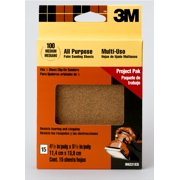 3M Clip-On Palm Sander Sheets, 4.5 in. x 5.5 in., 100/Medium Grit, 15/Pack