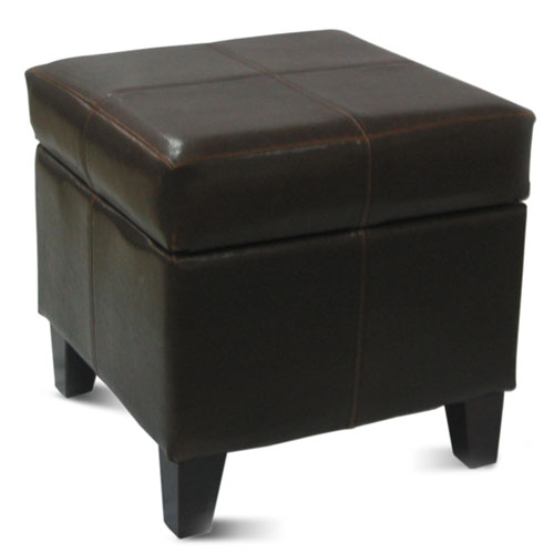 Small Storage Ottoman, Black