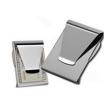 slim clip double sided money clip credit card holder wallet new stainless steel - Money Clip Credit Card Holder
