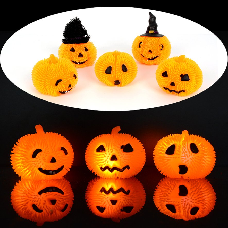 Halloween Flash Led Bouncy Ball Elastic Glowing Ball Toy Party Decoration
