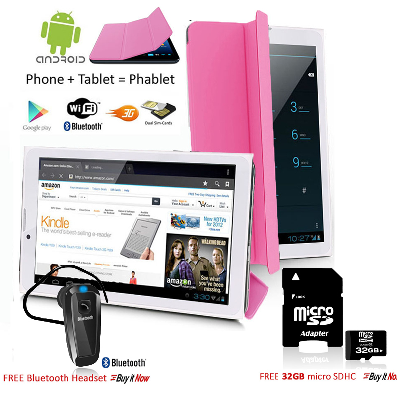 """Indigi® 7.0"""" HD Unlocked 3G (2-in-1)Android 4.4 SmartPhone & TabletPC  w/ Built-in Smart Cover + Bundle Included (Pink)"""