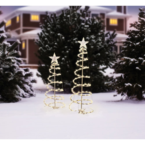 Holiday Time Lighted Spiral Christmas Tree Sculptures, Clear Lights (2-Pack)