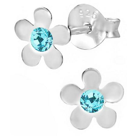 Hypoallergenic Sterling Silver Aqua Crystal Flower Stud Earrings for Kids (Nickel - Aqua Crystal Flower