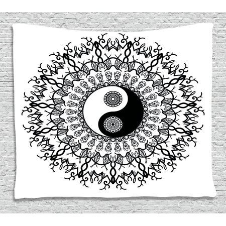 Ying Yang Decor Tapestry, Vintage Mandala Pattern Ethnic Motivational Oriental Boho Decorations, Wall Hanging for Bedroom Living Room Dorm Decor, 60W X 40L Inches, Black White, by Ambesonne (Oriental Decorations)