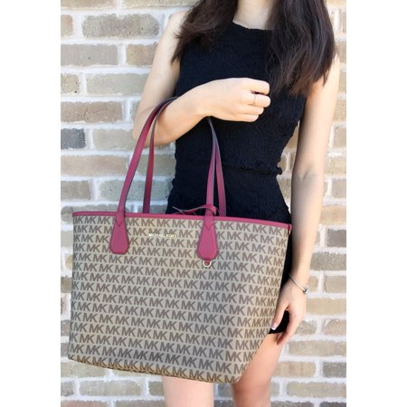 6e638c2a6420 NWT Michael Kors Candy Large Reversible Tote Brown Khaki Signature Cherry  Red