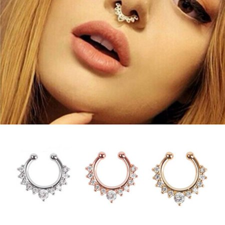 Fashionhome Luxury Alloy Rhinestone Fake Nose Ring Piercing