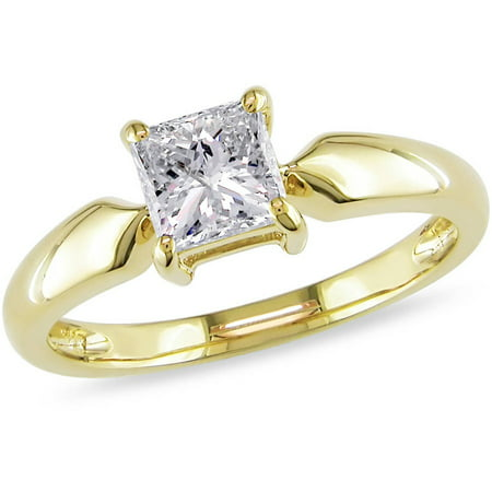 Miabella 1 Carat T.W. Princess Cut Diamond Solitaire Ring in 14kt Yellow Gold