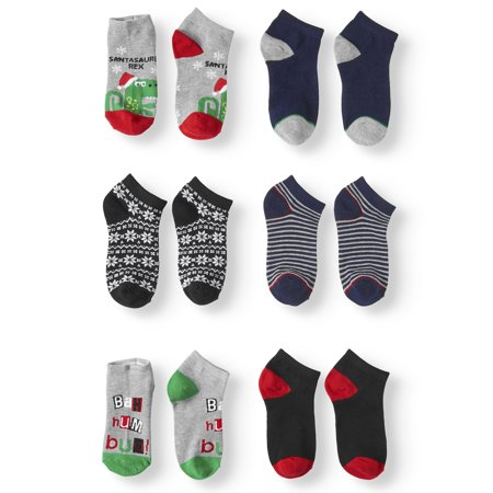 Hallmark Boys' Holiday No Show Socks, 6 Pairs (Sonic Socks)