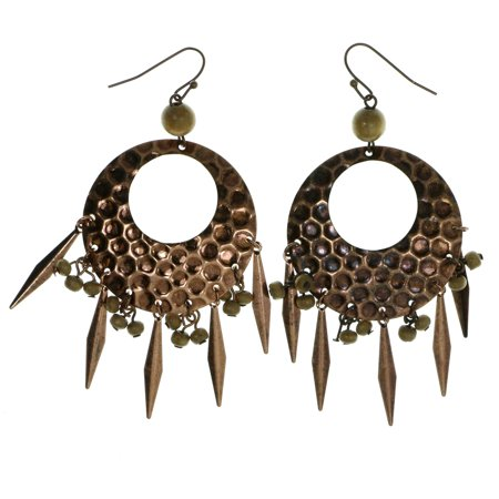 Hoop Earrings With Spikes & Bead Accents For Women Bronze-Tone