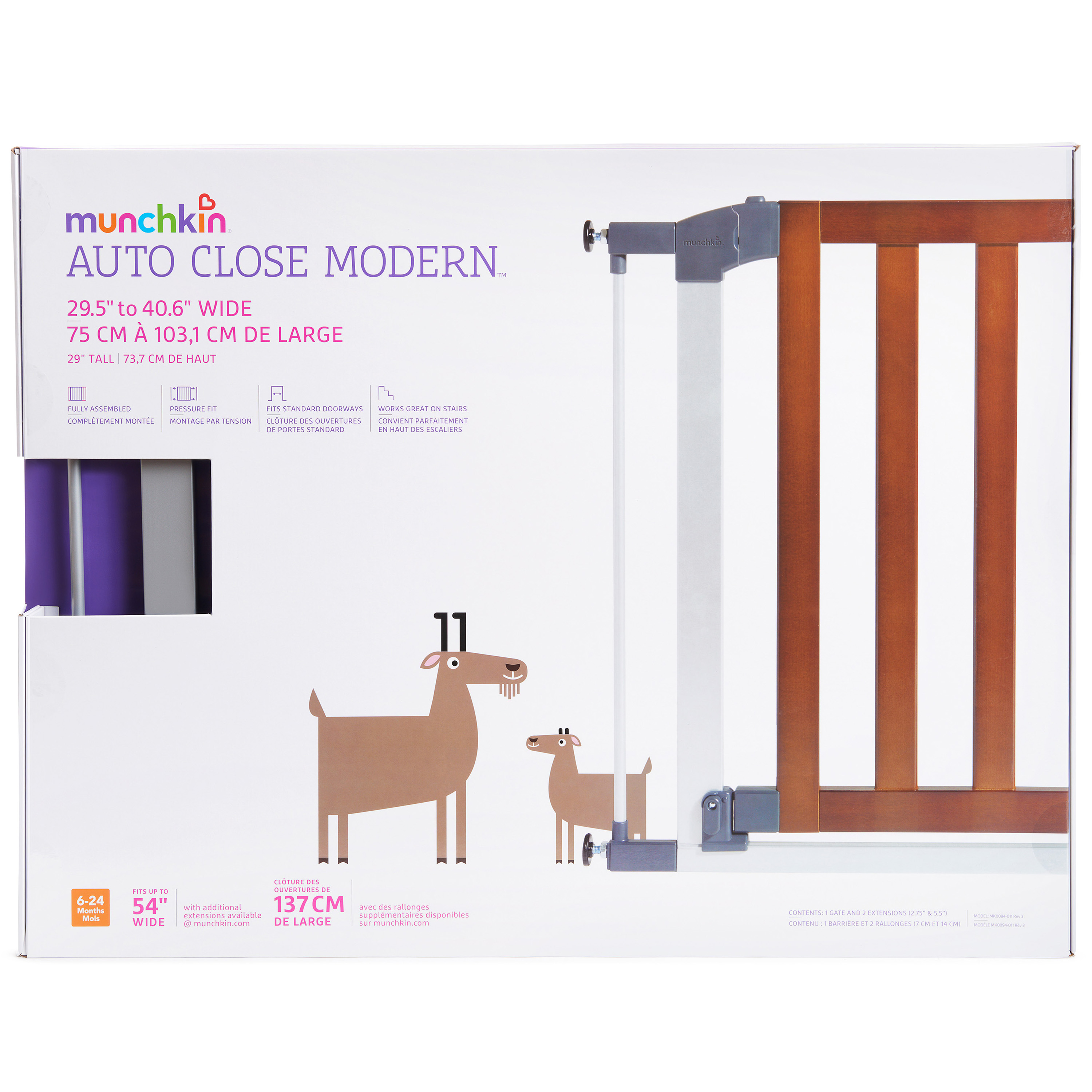 "Munchkin AUTO Close Baby Gate Dark Wood//Silver Metal Model 46764 /& 11/"" Extension"