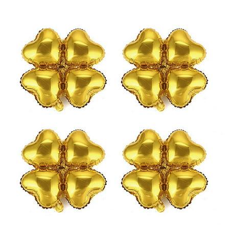 Unique Bargains Party Foil Four Leaf Clover Design Inflation Balloon Gold Tone 18 Inches 4pcs ()
