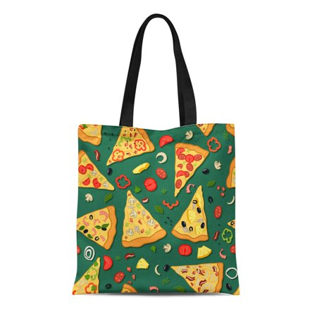 KDAGR Canvas Tote Bag Pattern Color of Pizza Slices Various Ingredients Box Cheese Reusable Shoulder Grocery Shopping Bags Handbag - Ingredients Cheese Pizza