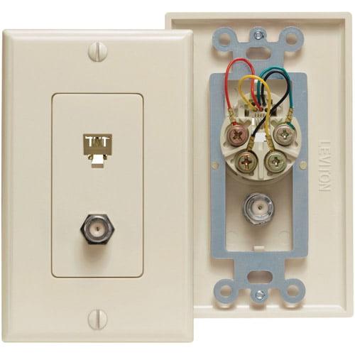 Leviton 40959-T Combo Telephone & F-Connector Wallplate Light Almond
