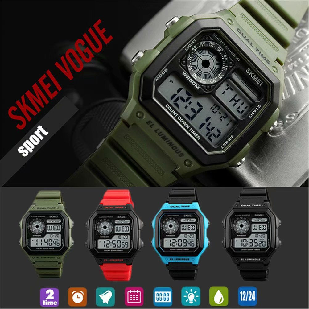 SKMEI Kids Electronic Watches Waterproof Classic Digital Watches For Boys and Girls,Army Green