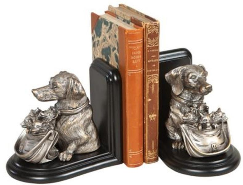 Bookends Bookend Dog with Basket of Fox Kits Cast Resin New Hand-Cast Ha OK-1544 by