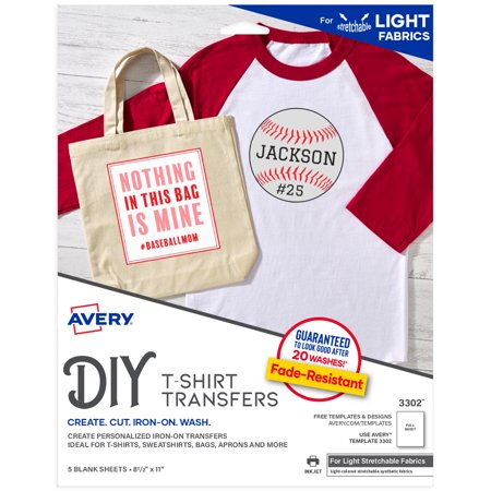 Avery Stretchable Heat Transfer Paper, 8.5u0022 x 11u0022, 5 Sheets (3302)