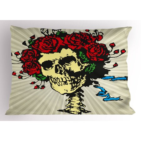 Rose Pillow Sham Tattoo Art Style Graphic Skull in Red Flowers Crown Halloween Composition Print, Decorative Standard Queen Size Printed Pillowcase, 30 X 20 Inches, Beige Multicolor, by Ambesonne
