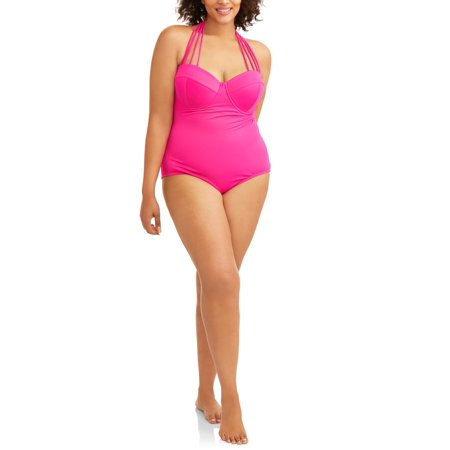 103 Degrees Women's Plus-Size Maillot One-Piece Swimsuit w/ Convertible (Tank Swimwear Maillots)