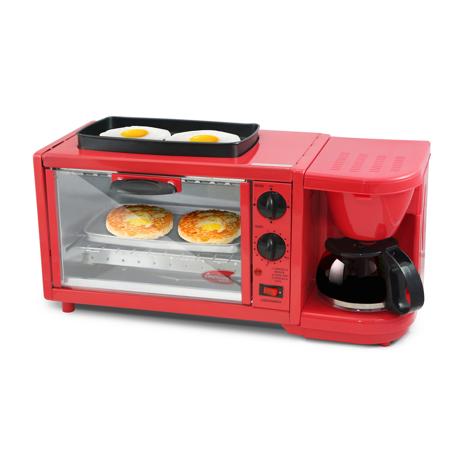 Americana by Elite 3 in 1 Extra Large Breakfast Center, Coffee, Toaster Oven, Griddle, Red by Maxi Matic USA