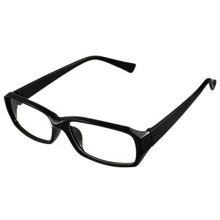 Unique Bargains Black Rectangular Spectacle Frame Clear Lens Formal ...