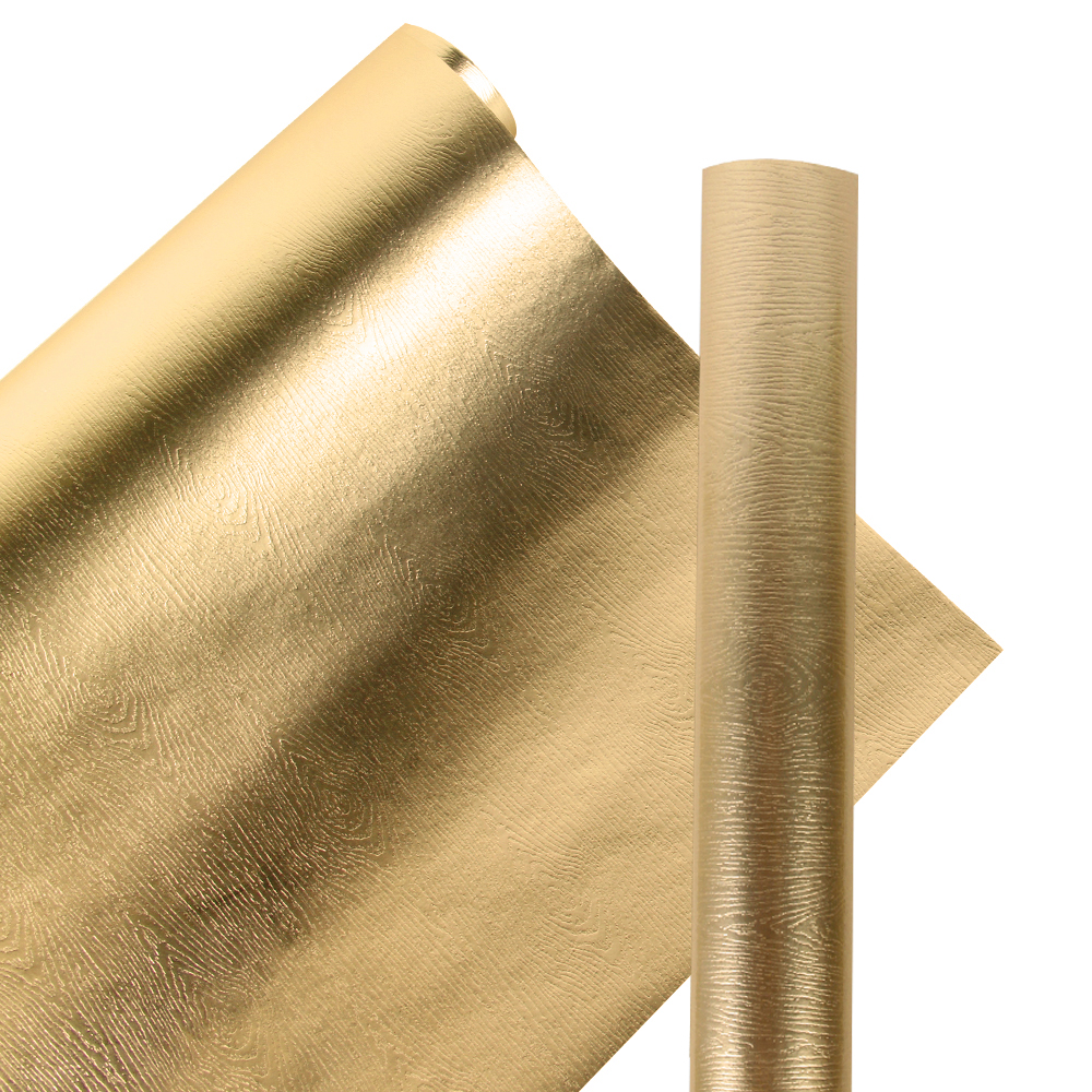 """LaRibbons Premium Eco-Friendly Wood Grain Wrapping Paper Glossy Gold 30"""" x 16.5' - 42 Square Feet"""