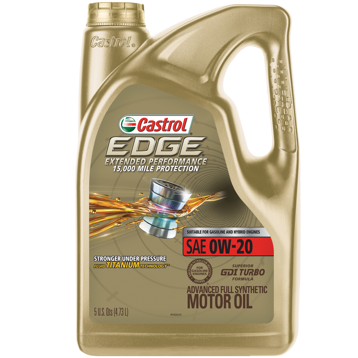 Castrol EDGE Extended Performance 0W-20 Advanced Full Synthetic Motor Oil, 5 QT