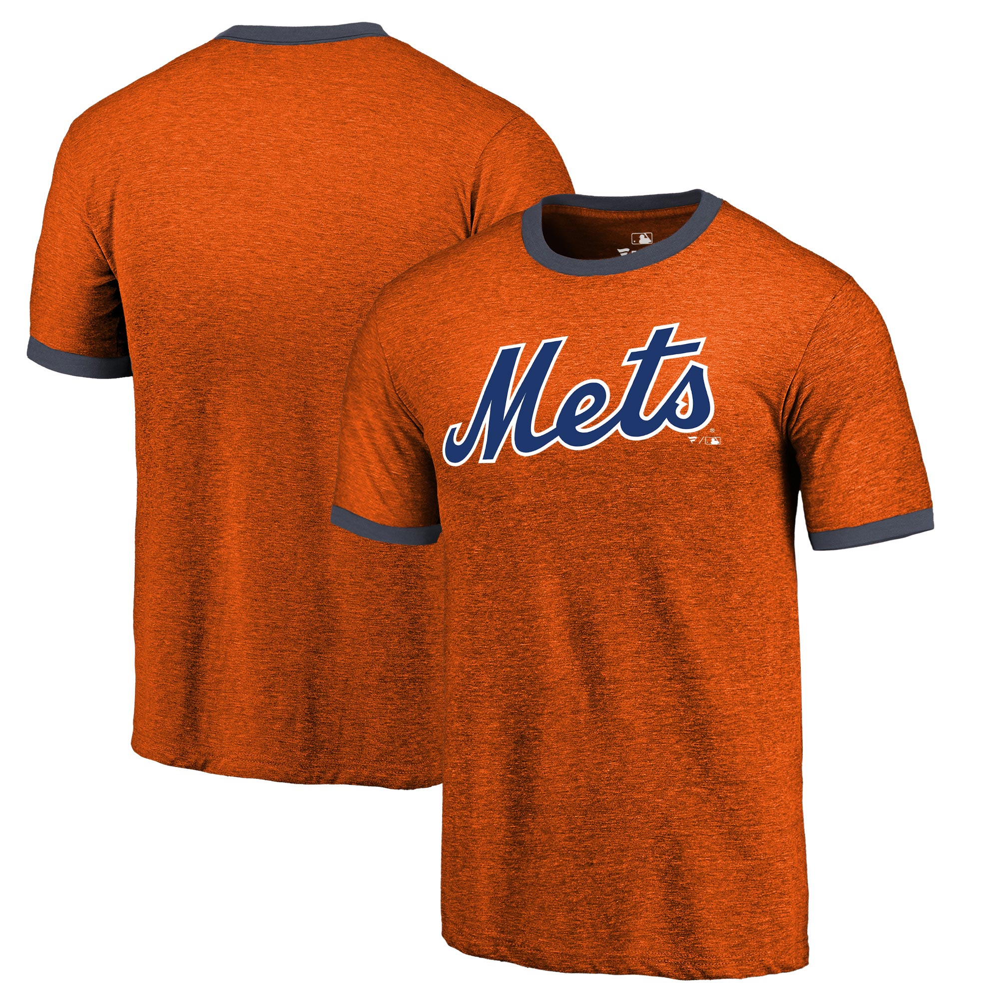 New York Mets Fanatics Branded Refresh Ringer Team Wordmark T-Shirt - Orange