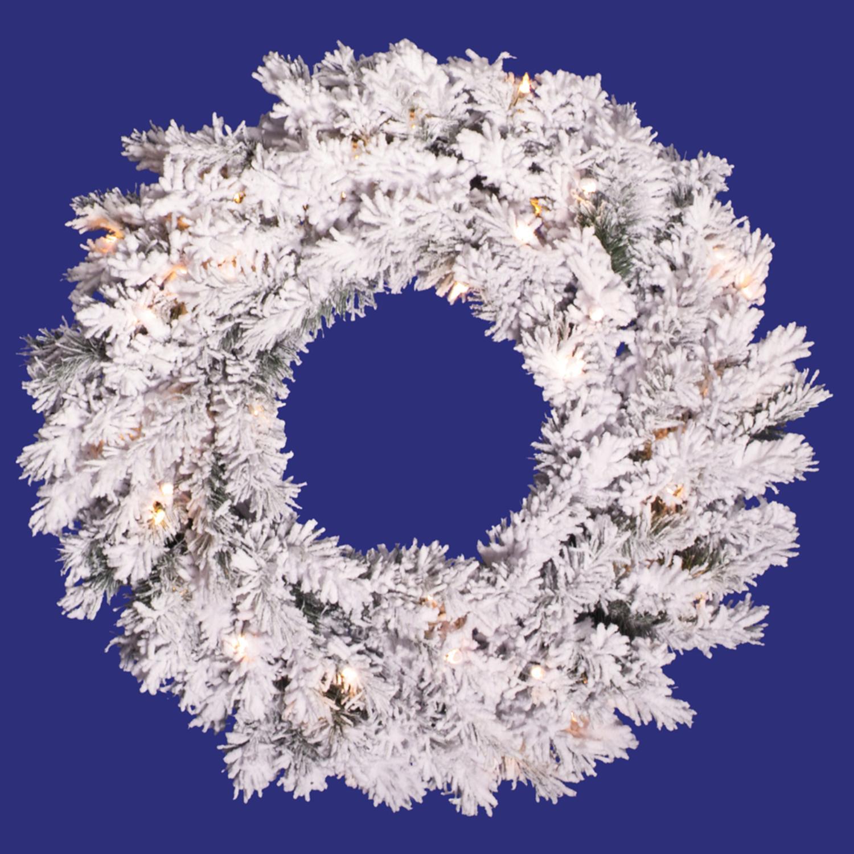 "Vickerman 24"" Prelit Flocked Alaskan Pine Artificial Christmas Wreath - Clear Dura Lights"