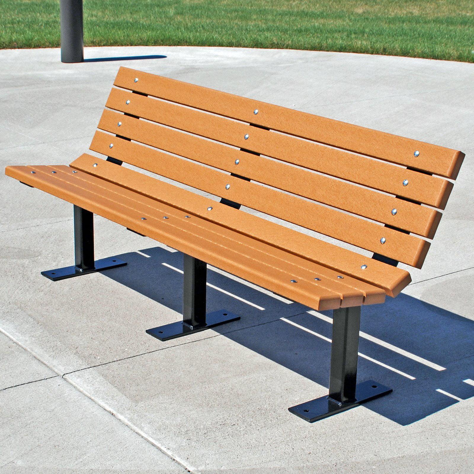 Jayhawk Plastics Contour Park Bench 6 ft. White Ground Mount by Jayhawk Plastics Inc