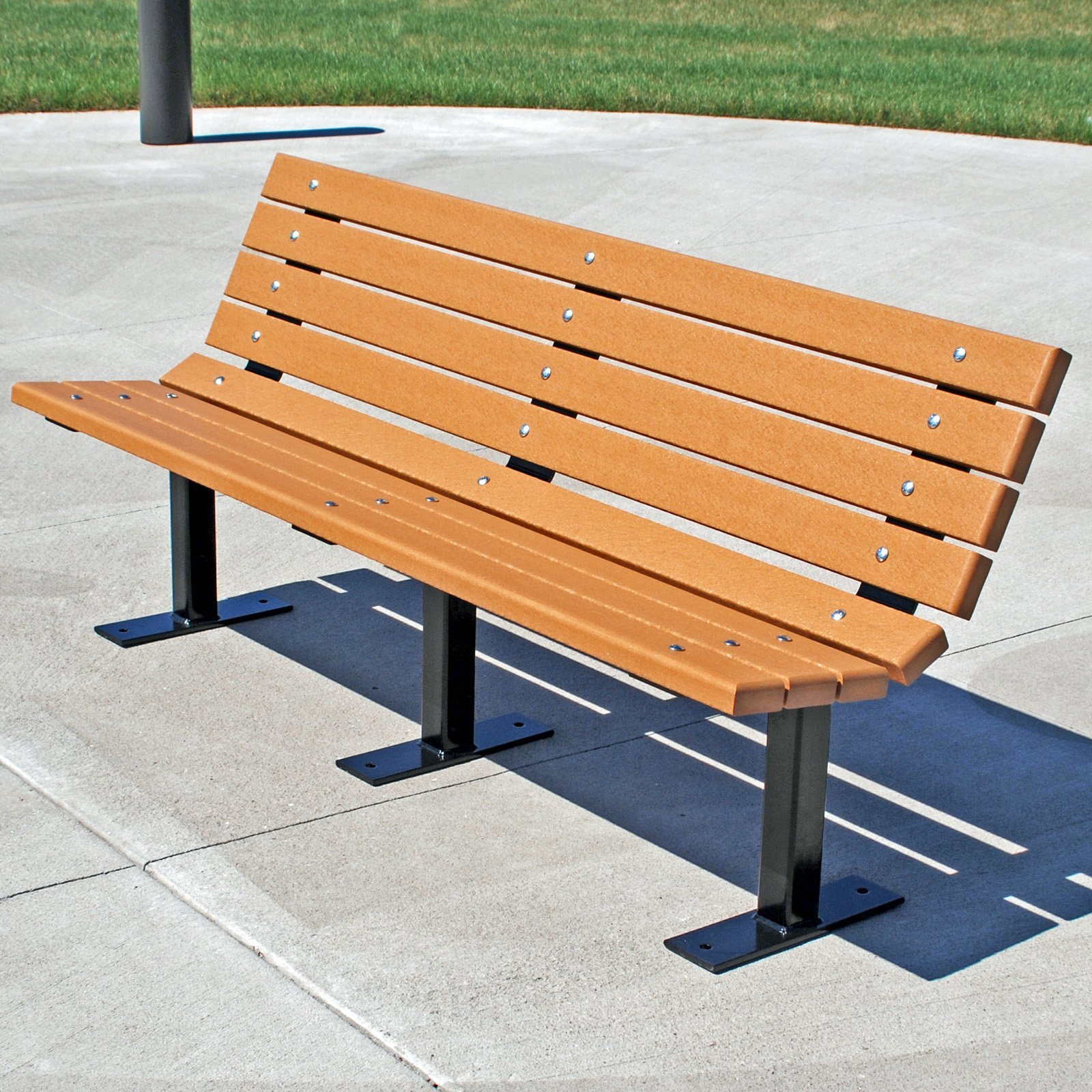 Jayhawk Plastics Contour Park Bench - 4 ft. -  Green - Surface. Mount