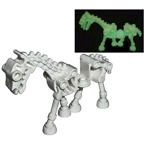 NEW Lego Lot//2 Glow In the Dark SKELETON HORSE HORNS Minifig Pet Animal Tail