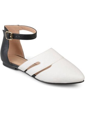 Womens Faux Leather Pointed Toe Two-tone Ankle Strap Flats