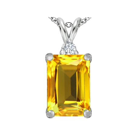 Star K Large 14x10mm Emerald Cut Simulated Citrine Pendant Necklace in Sterling Silver