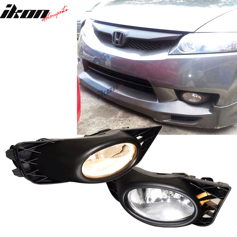 Fits 09-11 Honda Civic 4Dr Sedan Clear Lens Fog Lights WithSwitch OE Style Pair