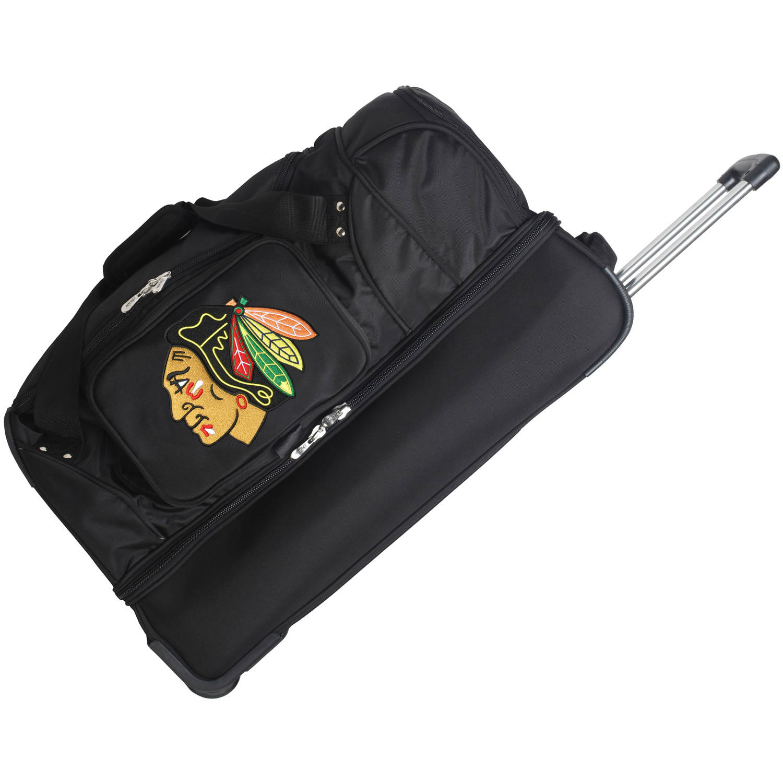 """Denco NHL 27"""" Rolling Drop Bottom Duffel, Chicago Blackhawks by Mojo Licensing"""