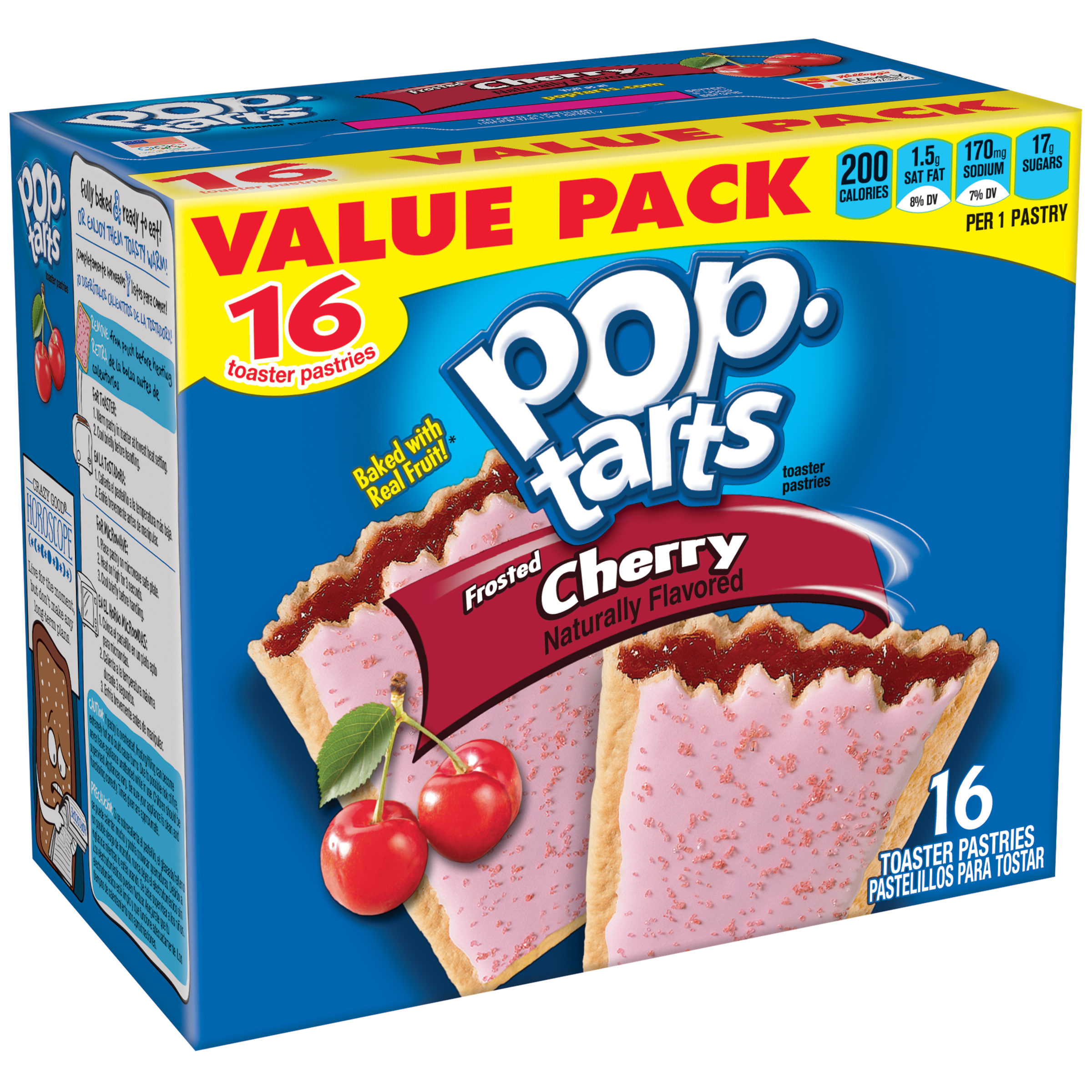 Kellogg's Pop-Tarts, Breakfast Toaster Pastries, Frosted Cherry Flavored, Value Pack, 29.3 oz 16 Ct