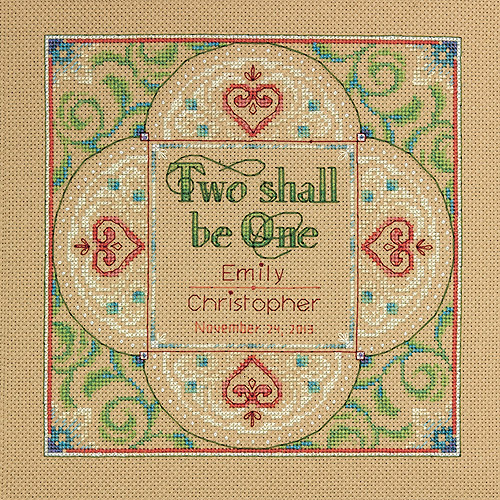 "Dimensions Two As One Wedding Record Counted Cross Stitch Kit, 10"" x 10"", 14-Count"