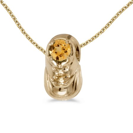 "14k Yellow Gold Round Citrine Baby Bootie Pendant with 18"" Chain"