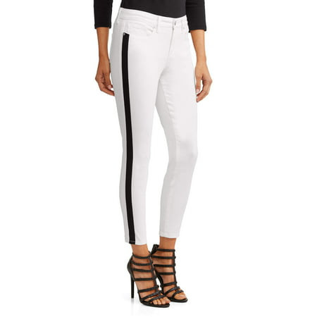 Cashmere Striped Jeans (Sofía Skinny Side Stripe Mid Rise Ankle Jean Women's (White) )